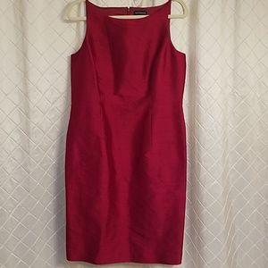 Ann Taylor red silk sleeveless dress